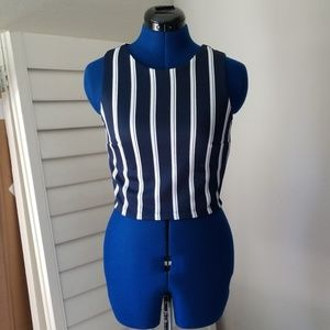 Navy Blue and White Striped Top